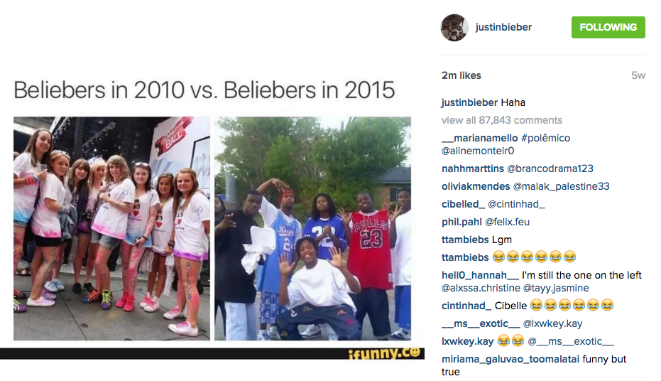 Beliebers in 2010 vs Beliebers in 2015 (screenshot from @justinbieber instagram)